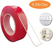 Double Sided Traceless Washable Nano Tape, Reusable Clear Anti-Slip Nano Gel Pads for Wall,Room,Paste Photos a