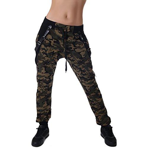 Crazy Age Camouflage Jogginghose Boyfriendhose Bagyyhose mit Hosentäger CA 1119 Cam, Khaki, L