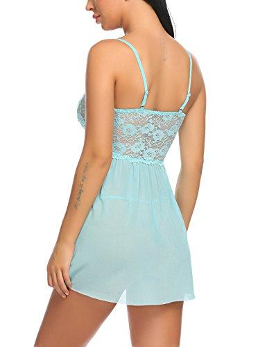 Untlet Damen Reizwäsche Spitzen Negligee Nachtwäsche Tiefer V-Ausschnitt Nachthemd Nachtkleid Dessous Blau