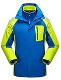 Echinodon [Kinder 3-in-1 Jacke] Jungen Mädchen Wasserdichte Funktionsjacke + warme Fleecejacke Outdoorjacke Winter Blau 170
