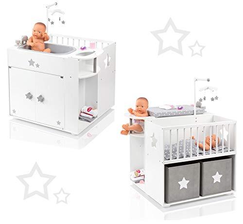 Badewanne Bettwäsche-schrank (SUN Großes Puppenpflegecenter 5in1 Sternchen aus Holz mit Puppenbett Wanne Schrank (Weiß-Grau))