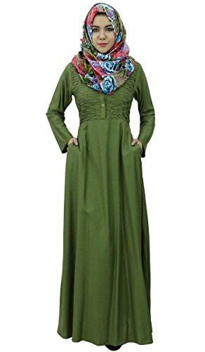 Bimba vêtements abayas plein manches islamic des maxi robe jilbab avec hijab Vert