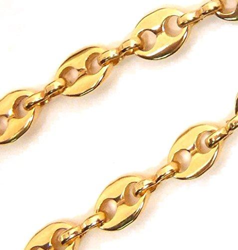 Collier Chaine Grain de café plaqué 18ct or, 5,5mm, Longueur 55cm, femme homme collier bijoux cadeaux de italien usine tendenze