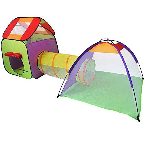 KIDUKU® Kinderspielzelt Bällebad Pop Up Spielzelt Iglu Spielhaus + Krabbeltunnel + Tasche für drinnen und draußen
