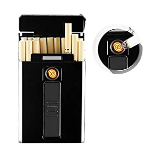 AUOKER Cigarette Case Box with Electric Lighter, 20PCS Thin Cigarettes Holder Metal USB Rechargeable Electric Lighter for Whole Package Cigarettes, Flameless Windproof Lighter with USB Cable