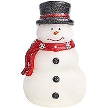 Velas de Navidad Velas LED con temporizador, muñeco de nieve encantadora con bufanda verde,
