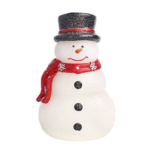 Weihnachts batteriebetriebener Schneemann mit rotem Schal, reales Wachs-flammenlose LED-Kerzen-Lichter mit Timer4.25*6.5in (weiß)