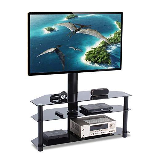 """TAVR Furniture TV Ständer Standfuß fur 32"""" - 65"""" Zoll LCD/LED/Plasma Fernseher Fernsehtisch mit Halterung inkl. Kabelführung mit SchwarzGlas Regale max. 50kg"""