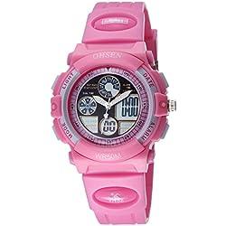 OHSEN Kids Waterproof Sport Watch Wristwatch with EL Backlight Alarm LED Digital Analog Display - Pink