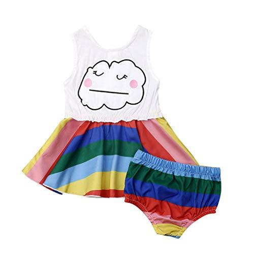 LEXUPE Kleinkind Kinder Baby Mädchen Regenbogen Kleidung Weste Tops Kleid Kurze Hosen Outfits Sets(Mehrfarbig,90) (Regenbogen Hell Girl Kostüm)