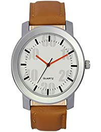 The Shopoholic Analog White Dial Brown Leather Belt Watches For Men-Watches For Boys
