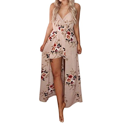 ESAILQ Frau Sommer äRmellose Blumen Party Jumpsuit Playsuit Strandhose(Medium,Khaki)