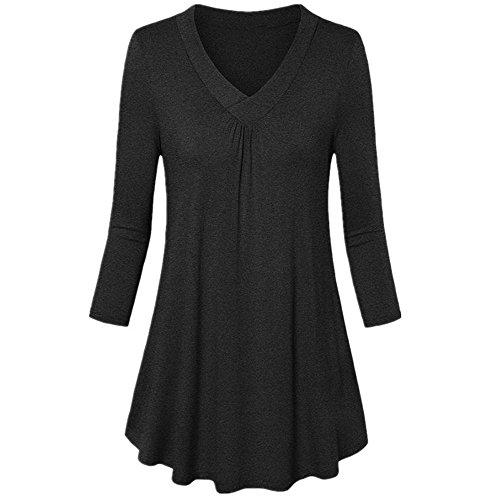 LOPILY Sommer T-Shirt Kurzarmshirt Damen Elegante Übergröße Kurzarm Gekräuselte Geraffte Shirts Blusen Tops Sommer Lässige Unregelmäßiger Saum Falten Bluse Oberteil(X1-Schwarz,4XL)
