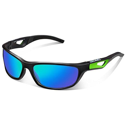 TSAFRER Sport Sonnenbrille Polarisierte Sportbrille Fahrradbrille mit UV400 Schutz für Damen und Herren Autofahren Laufen Radfahren Angeln Golf TR90 (Black-Green)