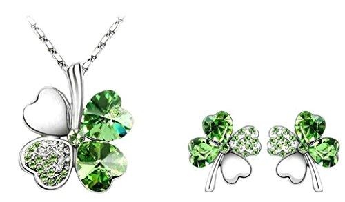 AnaZoz Joyería de Moda Collar de Mujer Cristal Austria Aleación Juegos de Joyas Collar y Pendientes Trébol de Cuatro Hojas Collar Para Mujer