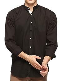 Lafantar Men's Black Mandarin Collar Shirt