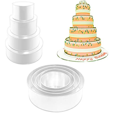 EURO TINS molde Redondo para tarta de boda de 4 pisos - 13 cm de profundidad (más profundidad)