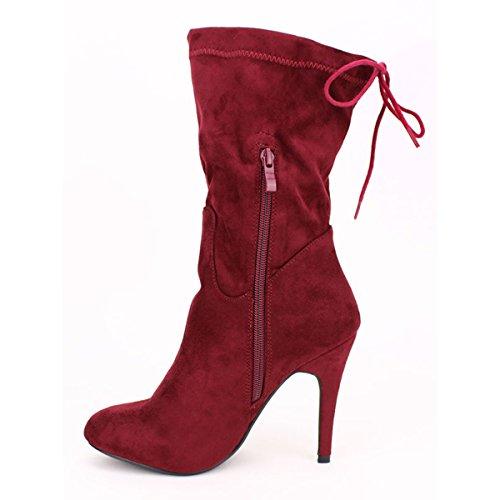 Cendriyon Botte Velours Bordeaux C'M Chaussures Femme Bordeaux