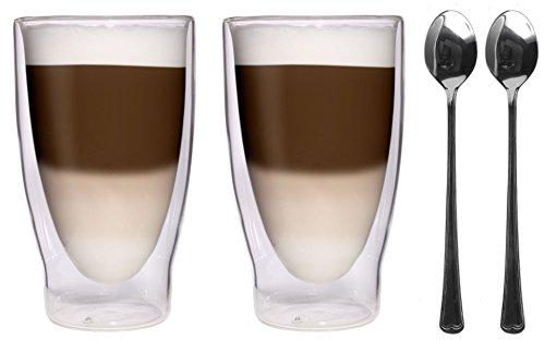 Action : 2 x 370 ml xXL verres double paroi de 2 cuillères en acier inoxydable 18/- 10 verres grands verres/verres à thé/bormioli et verres à eau - 2 x 370 ml, très élégant feelino