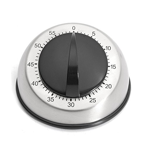 60 Minuten Mechanischer Küchen-Timer, 60 Minuten Countdown-Alarm, Küchentimer Edelstahl Kochen Zeit Analog Uhr Backen Werkzeug free size schwarz - Waschmaschine Timer Zifferblatt