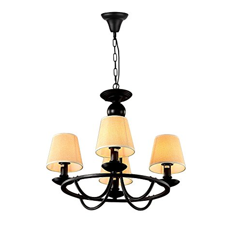 Chandeliers Countryside Simple Black Iron and Linen Shades Ceiling Lighting for Kitchen Dining Room Bedroom Plating