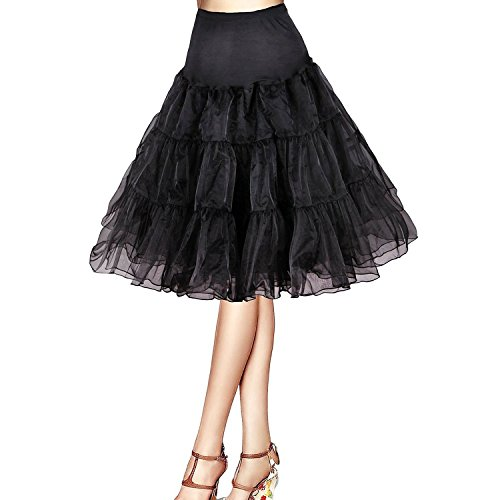 Honeystore Damen's 50s Rock'n'Roll Ballet Petticoat Abschlussball Party Halloween Kostüme Tutu Rock Schwarz (Julia Kostüme Adult)