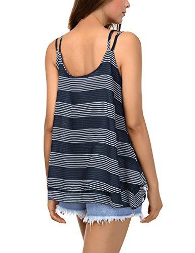 BaiShengGT Débardeur Femme Tops Gilet Vest T-Shirt Blouse Sans Manches Tank  Été Soie de Mousseline Casual Simple Bleu-Rayures XL a67bde9d7f39