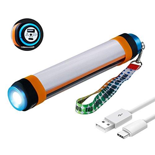 Magic Hue Wasserdicht LED Mehrzweck-Taschenlampe für Zelte Camping, Moskito - HandLampe SOS Blue und Rot Licht, 350 Lumen USB Wiederaufladbar Lithium Batterie und Als Power Bank, 6 Modi Outdoor Latern