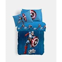 Sábana Capitán América individual (sopra cm.150x 280+ bajera 90x 200+ 1funda de almohada) Caleffi no incluye colcha raffigurata