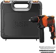Black+Decker 710W 47,600BPM Single Gear Hammer Drill with 4 Drill Bits in Kitbox for Metal & Masonry Drill