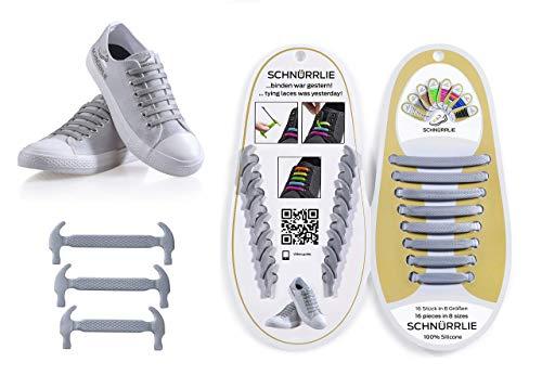 SCHNÜRRLIE Elastische Silikon Schnürsenkel flach I 16 elastik Schnürbänder für Kinder Erwachsene Grau Silber