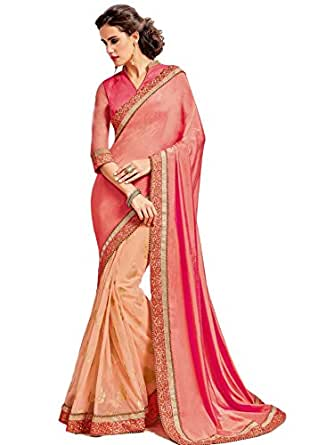 embroidered silk blend Sari in pink