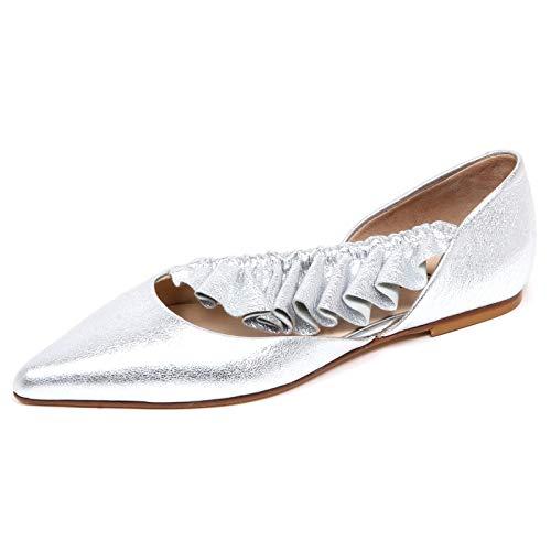 ANNA BAIGUERA F4172 Ballerina Donna Silver Malika Scarpe Crackled Shoe Woman [38]