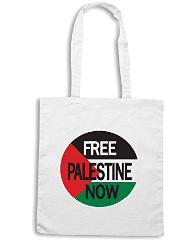 T-Shirtshock - Borsa Shopping TM0552 Free Palestine Now Bianco
