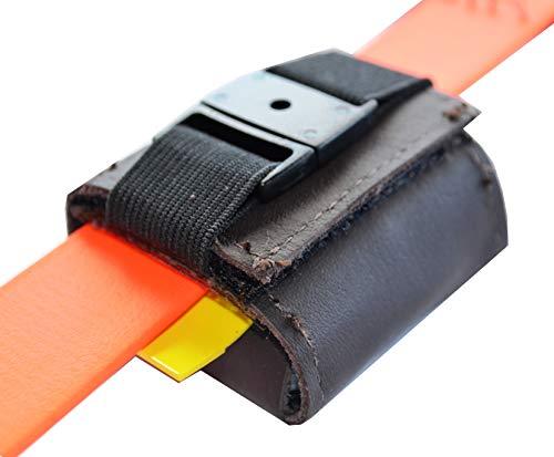josi.li Tracker-Tasche Nappaleder, innen PVC, Klettverschluss, Flacher Steckverschluss, Adressfach, Hinweislabel, für GPS Tracker 51x41x15mm, in schwarz und braun erhältlich (Dunkelbraun) -