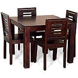 RK Furniture Sheesham Wood 4 Seater Dining Table Set - Mahogany
