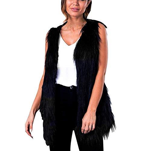 Bolawoo giacca pelliccia donna invernali pelliccia sintetica gilet eleganti mode di marca smanicato calda monocromo v-neck gilet di pelliccia outerwear prodotto plus (color : schwarz, size : l)