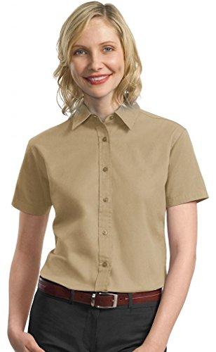 Port Authority Ladies Short Sleeve Cotton Twill Shirt, L, Khaki (Shirt Port Twill Authority)