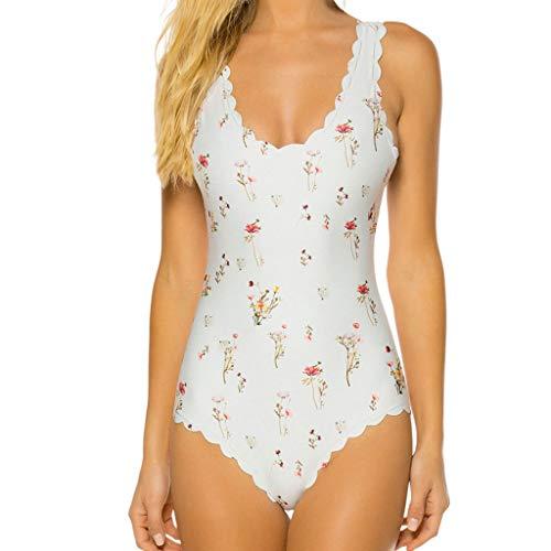 (Yvelands Damen bademode Badeanzüge Siamese Bikini Set Push-Up Print Bademode Beachwear Badeanzug(CN-S,Weiß))