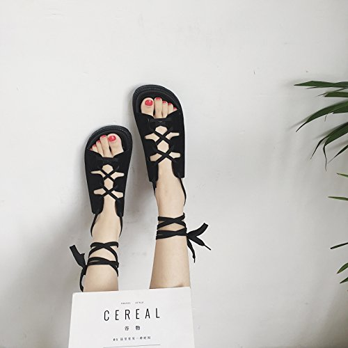 Lgk & fa estate sandali da donna estate fondo piatto tacco basso sandali scarpe basse di spessore inferiore antiscivolo suola morbida maglia scarpe studente scarpe Black
