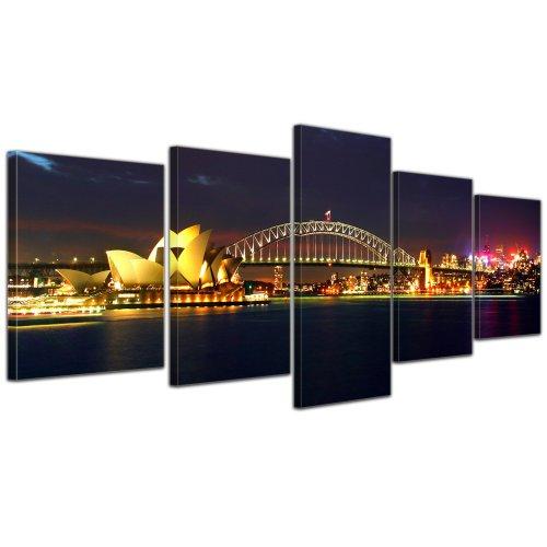 Kunstdruck - Sydney Opera House und die Harbour Bridge - Bild auf Leinwand - 200x80 cm 5 teilig - Leinwandbilder - Bilder als Leinwanddruck - Wandbild von Bilderdepot24 - Städte & Kulturen - Australien - Sydney bei Nacht