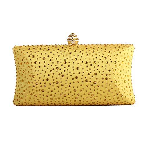 Bolso amarillos fiesta con piedras incrustadas