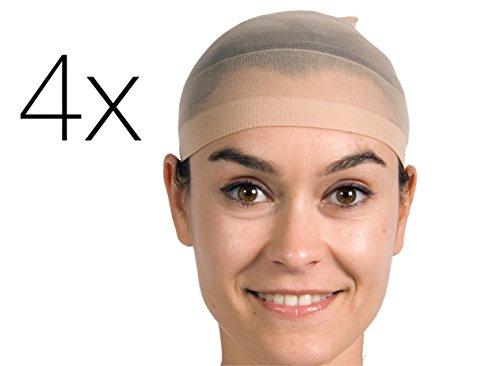 4x Perückkenunterziehhaube Unterziehhaube Haarnetz Netz Haube Kopfhaube für Perücken, Haarperücke und Haare für Fasching Karneval