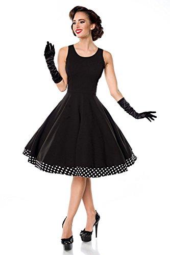 Belsira Damen Swing-Kleid mit Cape im Retro-Style Schwarz/Weiß