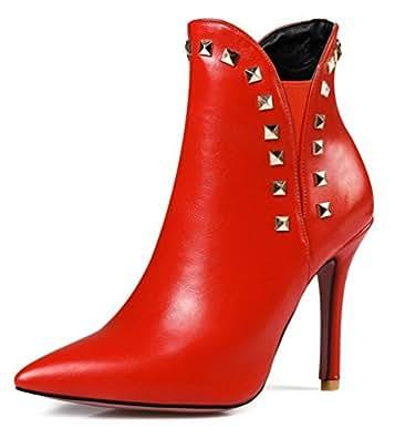 SHOWHOW Damen Sexy Strass Spitz Zehe Kutzschaft Stiefel Mit Absatz Rot 42 EU 4eQ7wFWq14