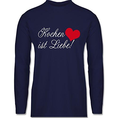 Küche - Kochen ist Liebe - Longsleeve / langärmeliges T-Shirt für Herren Navy Blau
