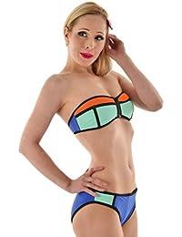 DearL Bandeau Bikini blau mintgrün orange