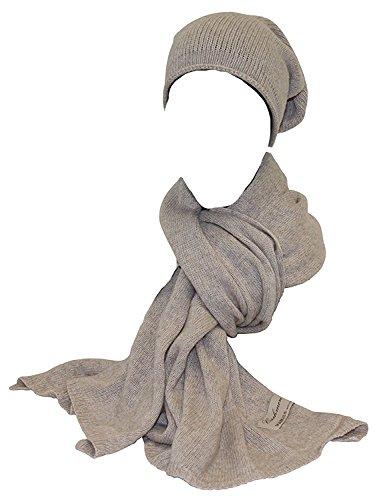 Set Schal & Mütze Kaschmir/Wolle Strickschal+Beanie Winter Set (beige) (Schal-geschenk-set)