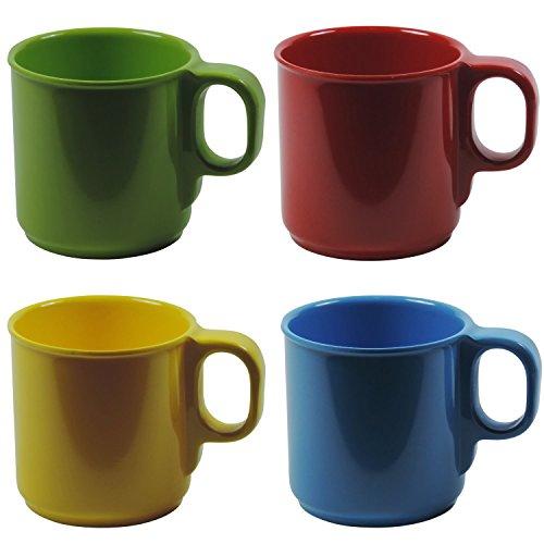 4 bunte Kunststoff-Becher 250 ml Kaffeebecher Trinkbecher aus Melamin
