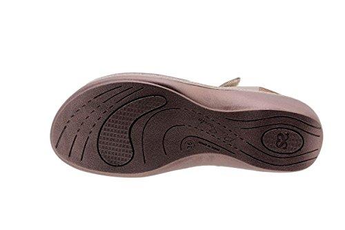 PieSanto Chaussure Femme Confort en Cuir 1807 Sandales à Semelle Amovible Confortables Amples Visón
